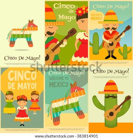Mexican Mini Posters Set in Retro Style. Cinco de Mayo. Vector Illustration. - stock vector