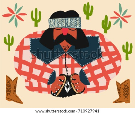 mexican musician playing accordion with boots and cactus vector illustration