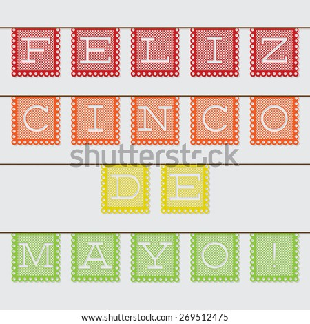 Mexican 'papel picado' (Paper flag decoration) 'Cinco de Mayo' set in vector format. - stock vector