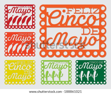 Mexican 'papel picado' (Paper flag decoration) set in vector format. - stock vector