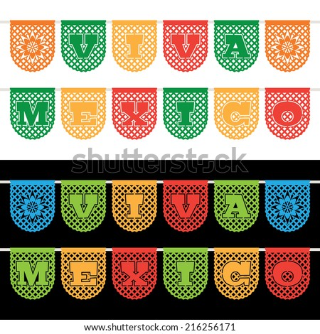 mexican paper bunting banners on white and black, with viva mexico (long live mexico) decoration - stock vector