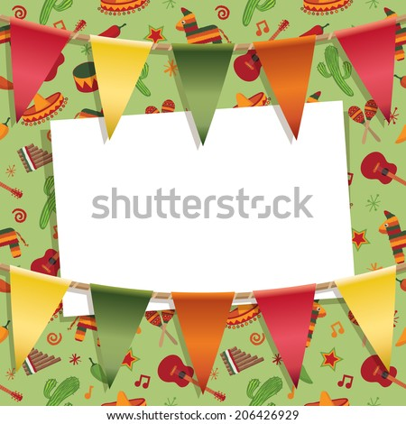 mexican party card decoration with background pattern, bunting and card for your text, with clipping path and transparencies - stock vector