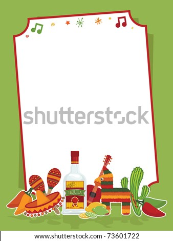 mexican party frame in red and green ready for text - stock vector