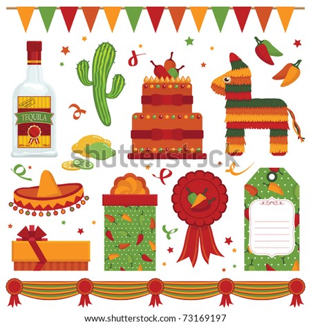 mexican party items with pinata and tequila isolated on white - stock vector