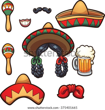 Mexican party props. Vector clip art illustration with simple gradients. Each on a separate layer. - stock vector