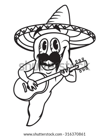 Mexican pepper guitar player vector illustration