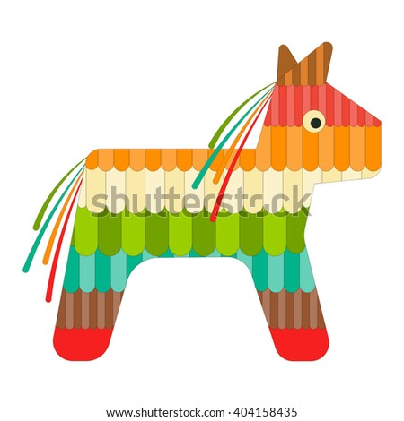 Mexican Pinata Isolated on White Background. Mexican Culture. Cinco de Mayo. Vector Illustration. - stock vector