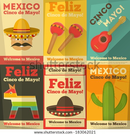 Mexican Posters in Retro Style. Cinco de Mayo. Vector Illustration. - stock vector
