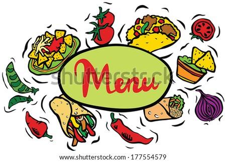 Mexican Restaurant Food Menu Sign - stock vector