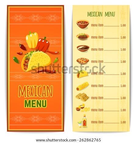 Mexican restaurant menu template with traditional spicy food cuisine vector illustration - stock vector