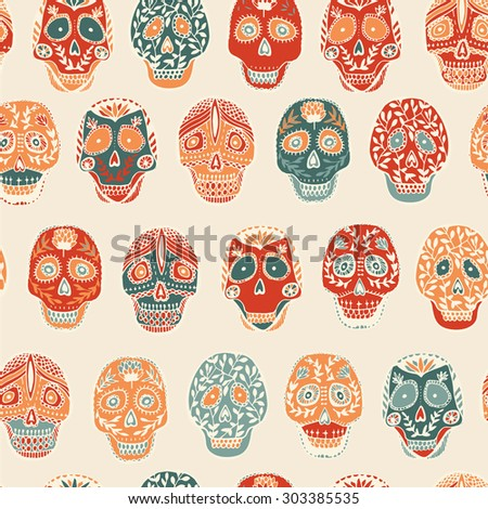 Mexican scull pattern seamless - stock vector