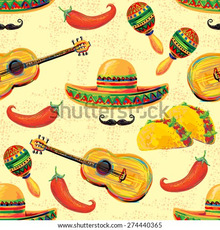 Mexican seamless music pattern with sombrero hat, mustache, maracas, taco and chill pepper vector background. Perfect for wallpapers, pattern fills, web page backgrounds, surface textures, textile - stock vector