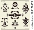 Mexican set of labels and stickers with icons. - stock photo