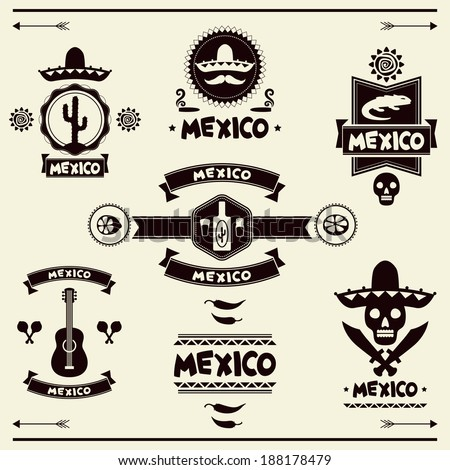 Mexican set of labels and stickers with icons. - stock vector
