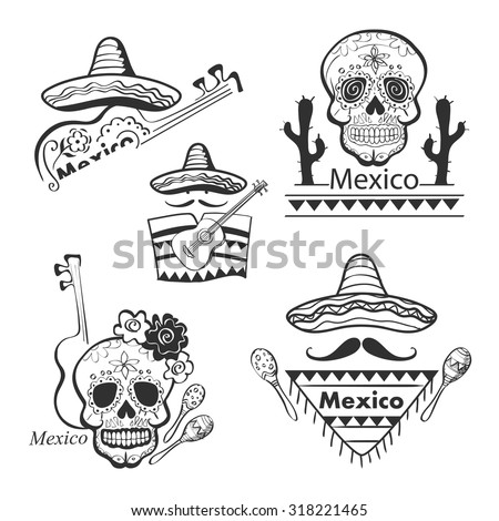 Mexican set of labels and stickers with icons- guitar, sombrero, tequila, taco, skull, aztec mask, music instruments. Isolated national elements made in vector. - stock vector