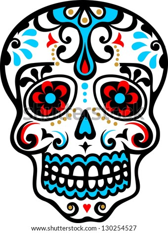 mexican skull flower ornament el dia stock vector hd royalty free rh shutterstock com day of the dead vector download day of the dead vector art