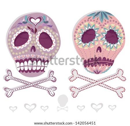 Mexican skull set. Colorful skulls with flower and heart ornamens. Sugar skulls. - stock vector