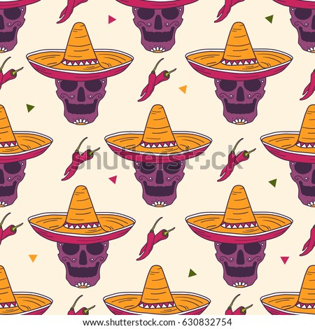 Mexican Skulls Sombrero And Chilli Hand Drawn Background Colorful Wallpaper Vector Seamless