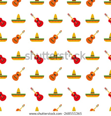 Mexican sombrero and guitar pattern - stock vector