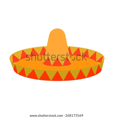Mexican sombrero flat vector illustration icon