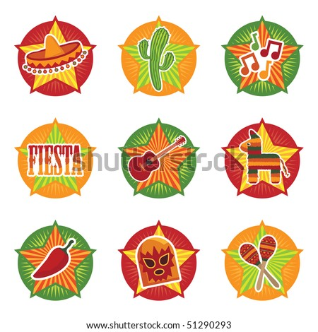 mexican star icons with motifs isolated on white - stock vector
