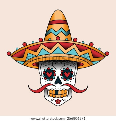 Mexican sugar scull in sombrero. Traditional style color tattoo - stock vector