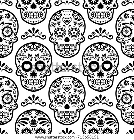 Mexican Sugar Skull Vector Seamless Pattern Halloween Candy Skulls Background Day Of The Dead