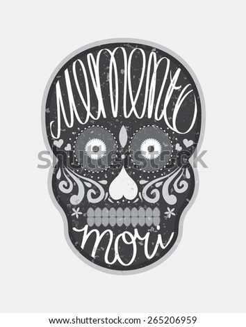 "Mexican sugar skull with ""memento mori"" (latin. Be mindful of death) lettering, black and white illustration for Day Of the Dead (Dia de los Muertos) - stock vector"