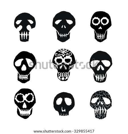Mexican Sugar Skulls Dia De Los Stock Vector HD (Royalty Free ...