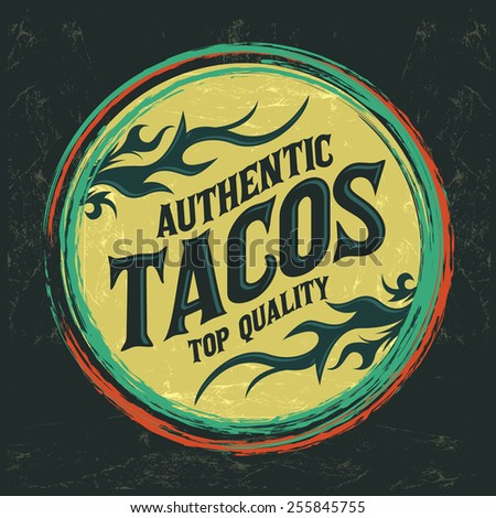 Mexican Tacos icon - emblem, Grunge rubber stamp, mexican food - stock vector