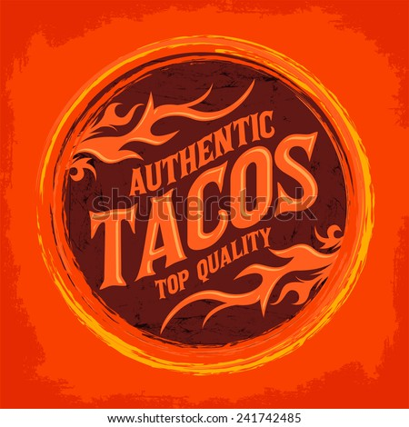 Mexican Tacos icon - emblem, Grunge rubber stamp, spicy mexican food - stock vector