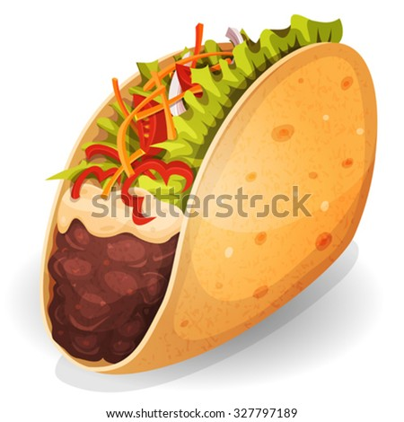 Mexican Tacos Icon/ Illustration of an appetizing cartoon fast food mexican taco icon, with corn wrap, salad leaves, tomatoes, cheese and beef meat with chili beans, for takeout restaurant - stock vector