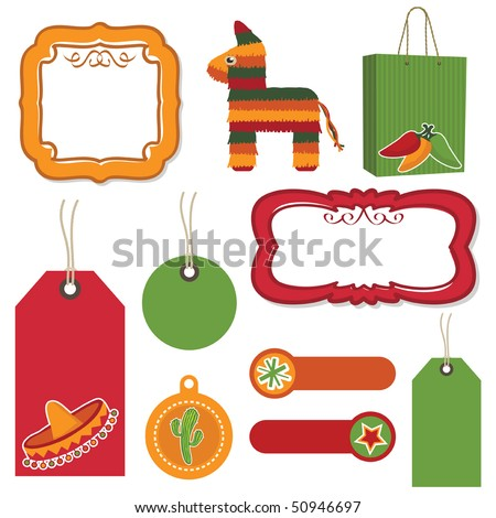mexican tags, tabs, frames and bag with motifs - stock vector