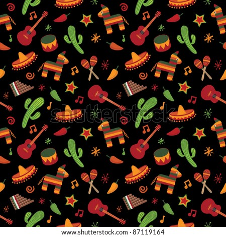 mexican themed seamless pattern with cactus, sombrero and pinata - stock vector