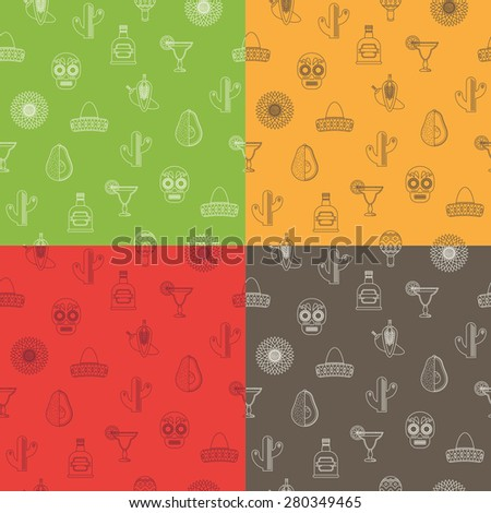 mexican themed seamless pattern with line icons, 4 variations - stock vector
