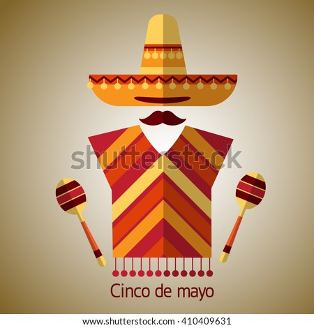 Mexican Traditional Clothes Sombrero Hat Maraca, Mexico Cinco De Mayo Holiday Flat Vector Illustration - stock vector