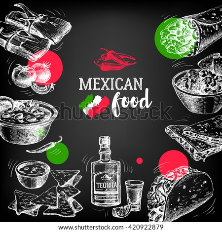 Mexican traditional food background. Hand drawn sketch vector illustration. Vintage Mexico cuisine banner. Restaurant menu design - stock vector