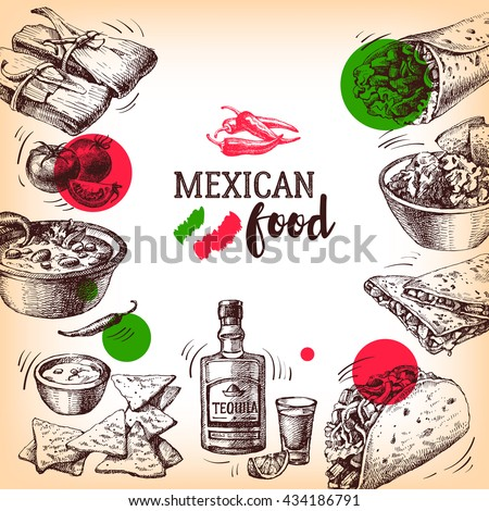 Mexican traditional food background. Hand drawn sketch vector illustration. Vintage Mexico cuisine banner. Restaurant menu - stock vector