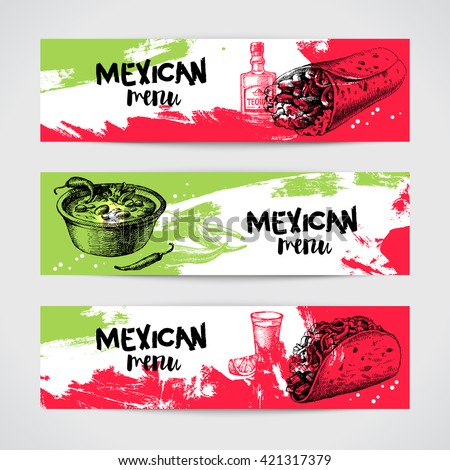 Mexican traditional food menu banners set. Hand drawn sketch vector illustration. Vintage Mexico cuisine - stock vector