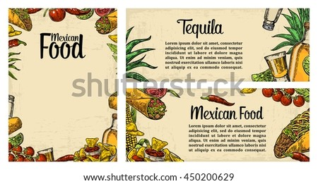 Mexican traditional food restaurant menu template with burrito, tacos, tomato, nachos, tequila, lime. Vector vintage engraved illustration on beige background. For poster, web - stock vector