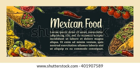 Mexican traditional food restaurant menu template with spicy dish. burrito, tacos, tomato, nachos. Vector vintage engraved illustration on dark background.  For poster, web, carte - stock vector