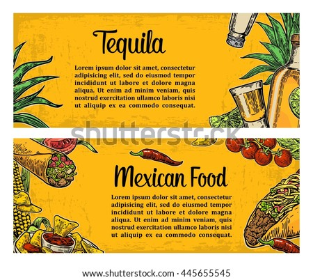Mexican traditional food restaurant menu template with spicy dish. burrito, tacos, tomato, nachos, tequila, lime. Vector vintage engraved illustration on yellow background. For poster, web - stock vector