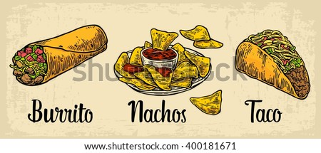 Mexican traditional food set with text message, burrito, tacos, nachos. Vector vintage engraved illustration for menu, poster, web. Isolated on beige background - stock vector