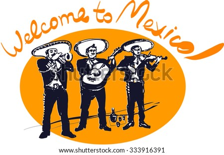 Mexican traditional musicians - stock vector