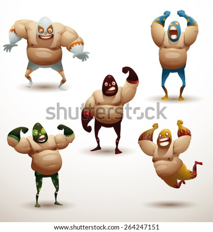 Mexican wrestlers Set, vector  - stock vector