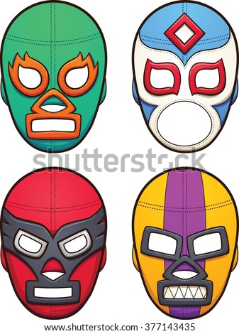 Mexican wrestling masks. Vector clip art illustration with simple gradients. All in a single layer.  - stock vector