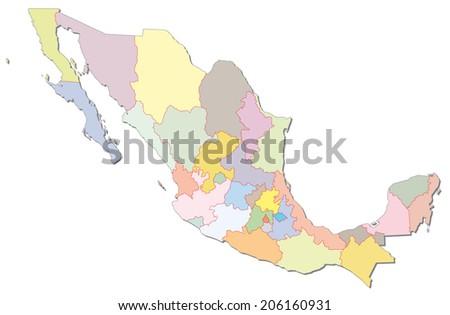 mexico administrative map - stock vector