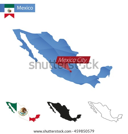 Mexico blue Low Poly map with capital Mexico City, versions with flag, black and outline. Vector Illustration. - stock vector