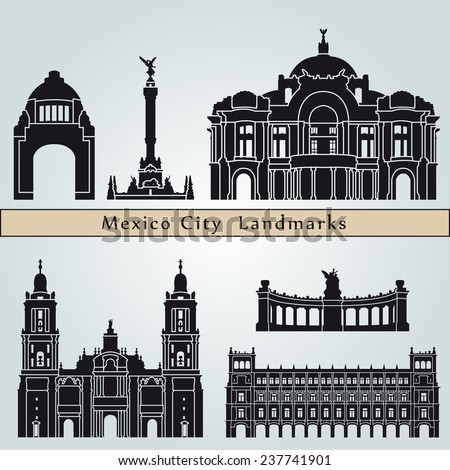 Mexico City landmarks and monuments isolated on blue background in editable vector file - stock vector