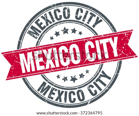Mexico City red round grunge vintage ribbon stamp - stock vector